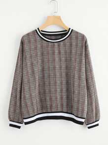 Contrast Stripe Trim Wales Check Pullover