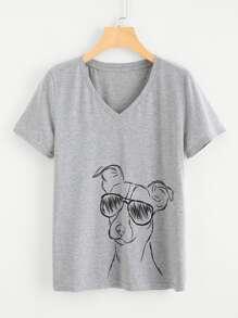 Dog Drawing Print Marled Tee