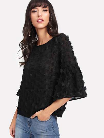 Allover Flower Applique Semi Sheer Top