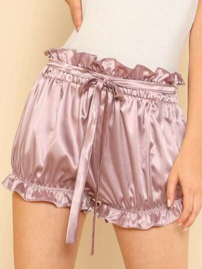 Self Tie Elasticized Ruffle Satin Shorts
