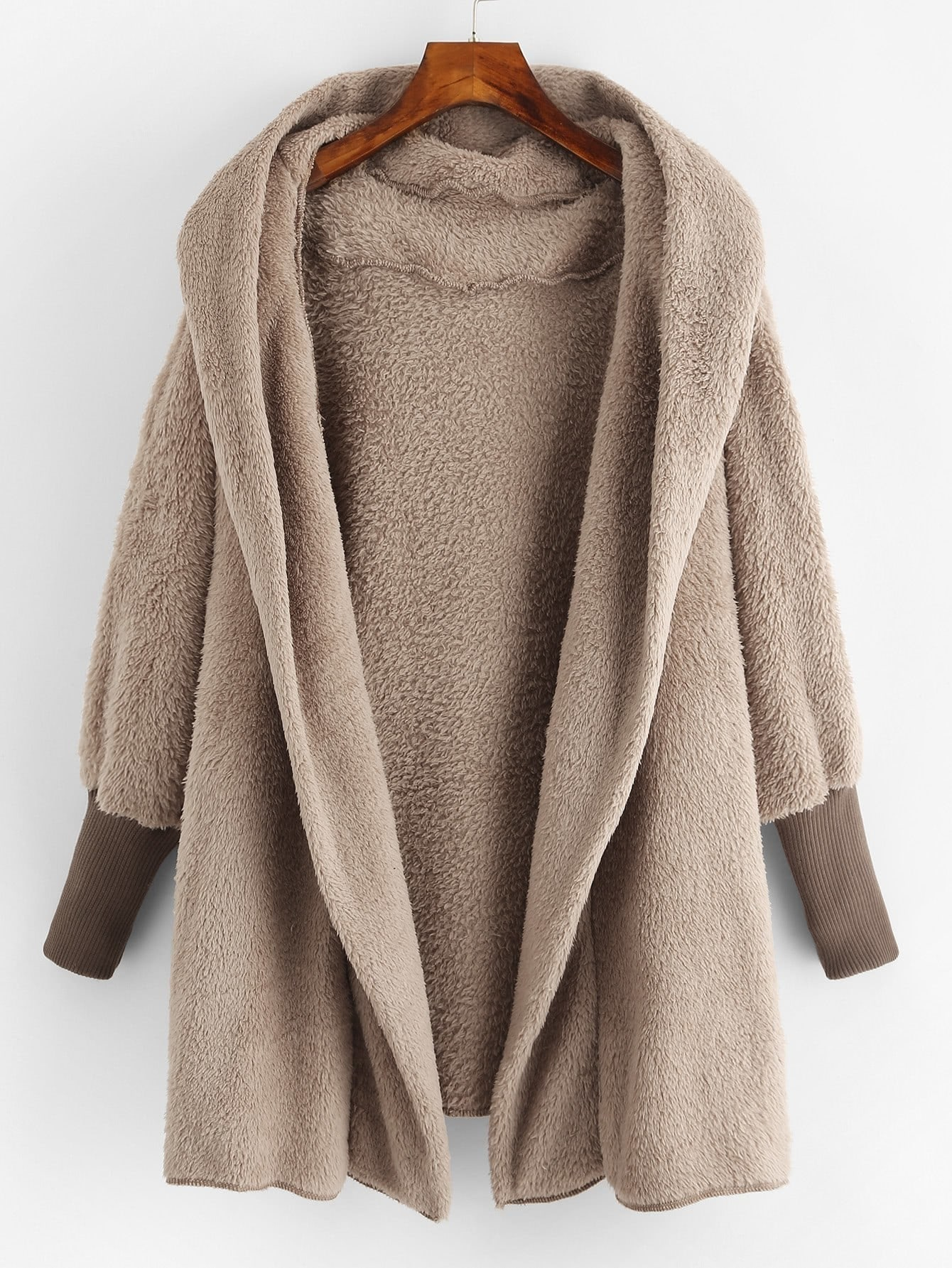 Hooded Open Front Fluffy Coat hooded letter print open front coat