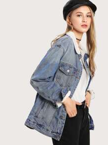Faux Shearling Bleach Wash Denim Jacket