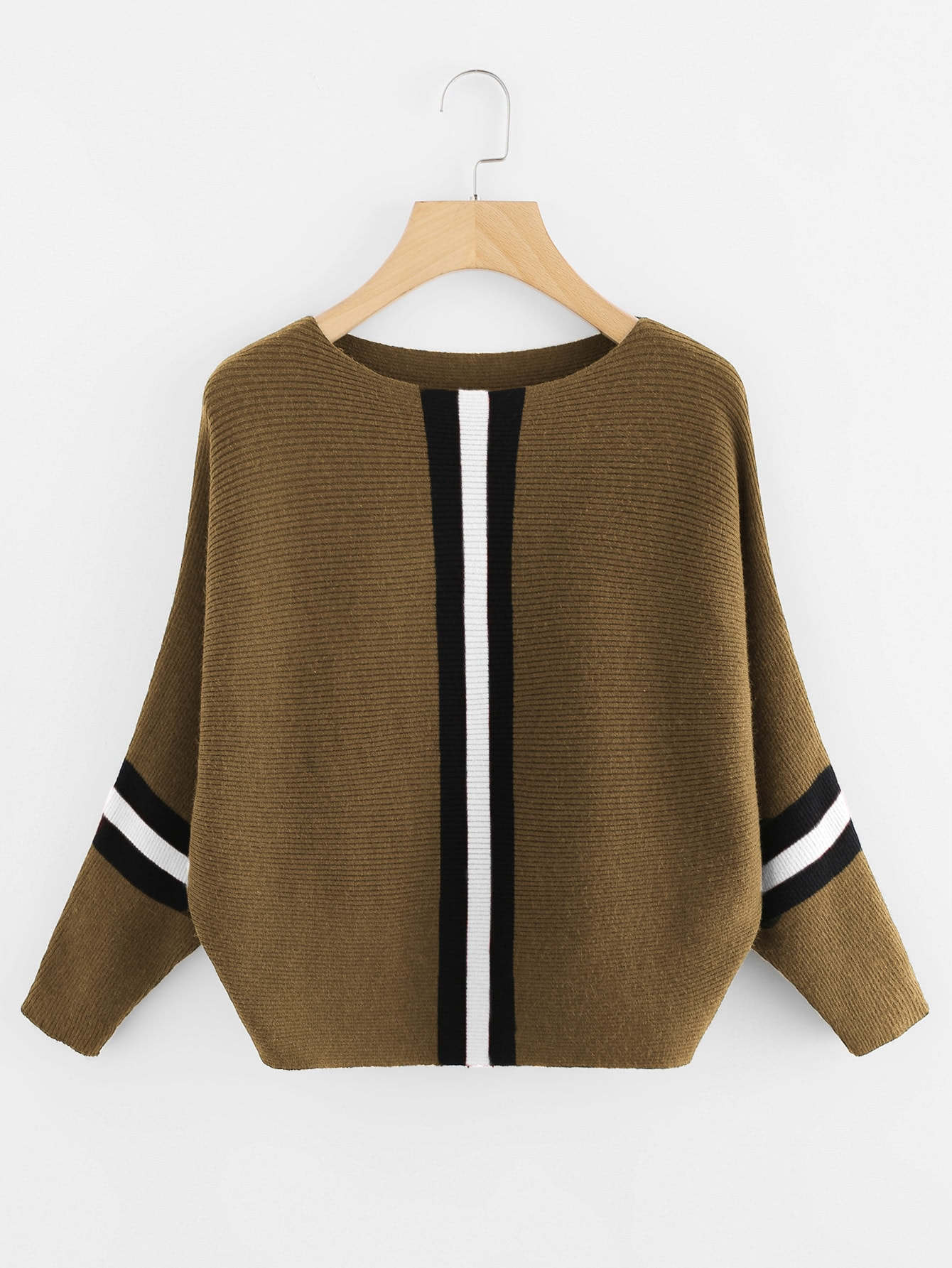 Contrast Striped Panel Ribbed Sweater sweater171212002