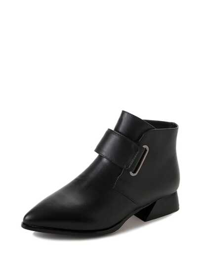 Pointed Toe Buckle Decor Ankle Boots
