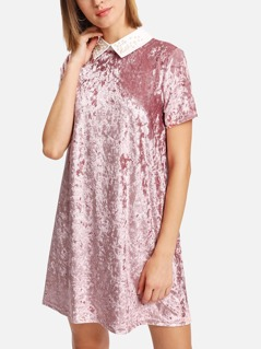 Crushed Velvet Dress With Pearl Beading Collar