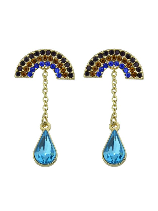 Colorful Rhinestone Blue Crystal Semicircle Geometric Drop Earrings two tone geometric drop earrings