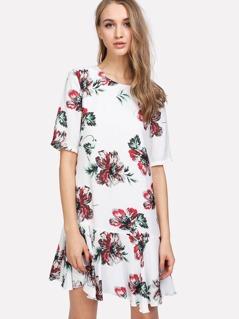Drop Waist Flower Print Dress