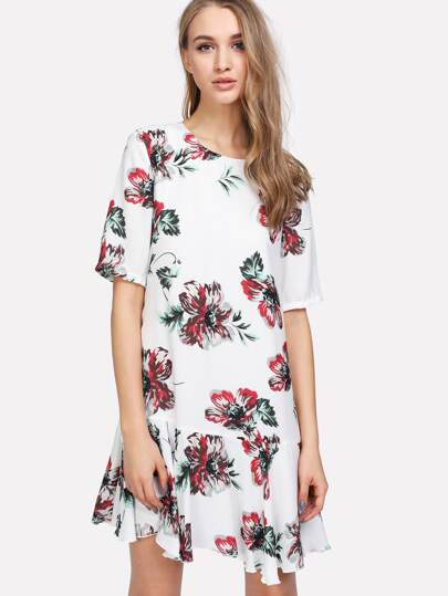Drop Waist Flower Print Dress