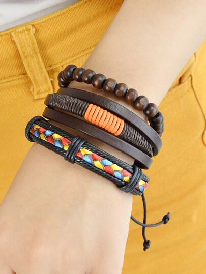 3Pcs/Set Coffee Pu Leather Colorful Braided Wrap Bracelets