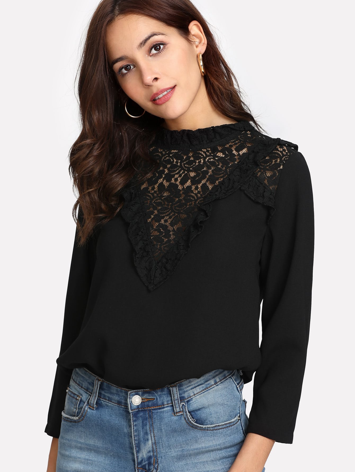 Sheer Lace Neck Frilled Top tie neck sheer lace top