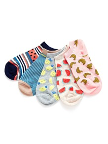 Fruit Print And striped Ankle Socks 5 Pairs