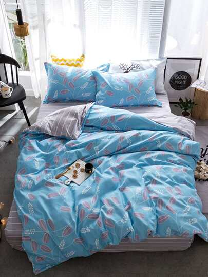2.2m 4Pcs Pflanzen Muster Bed Sheet Set