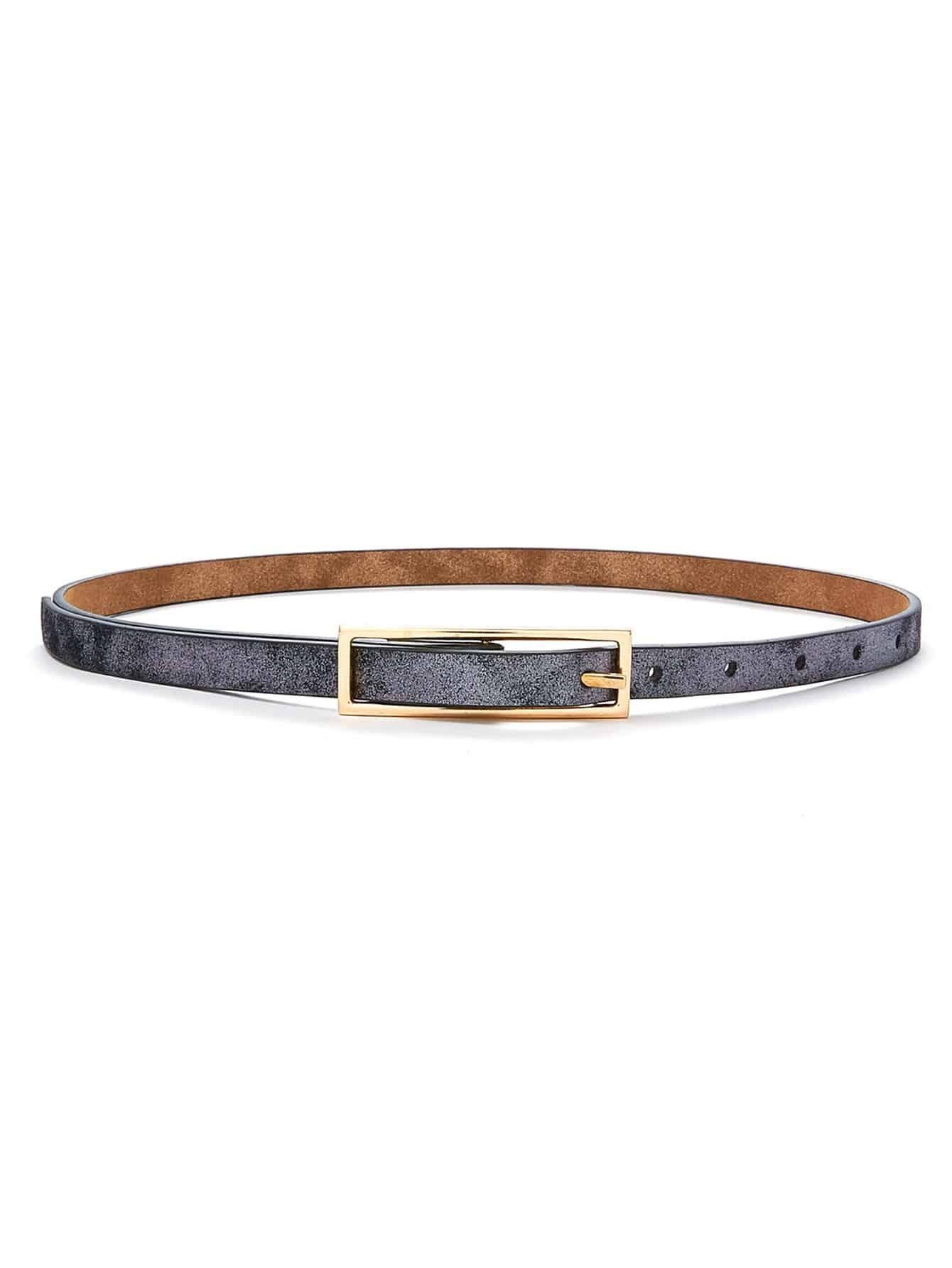 Square Buckle Skinny Belt women fashion square buckle basic dress leatherette wide belt