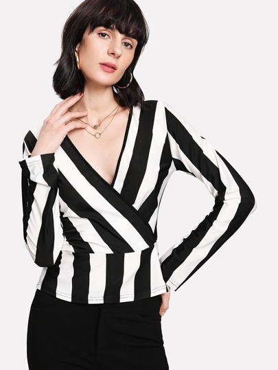 Deep V Neckline Striped Top