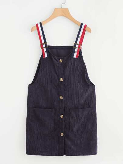 Corduroy Single Breasted Dual Pocket Pinafore Dress