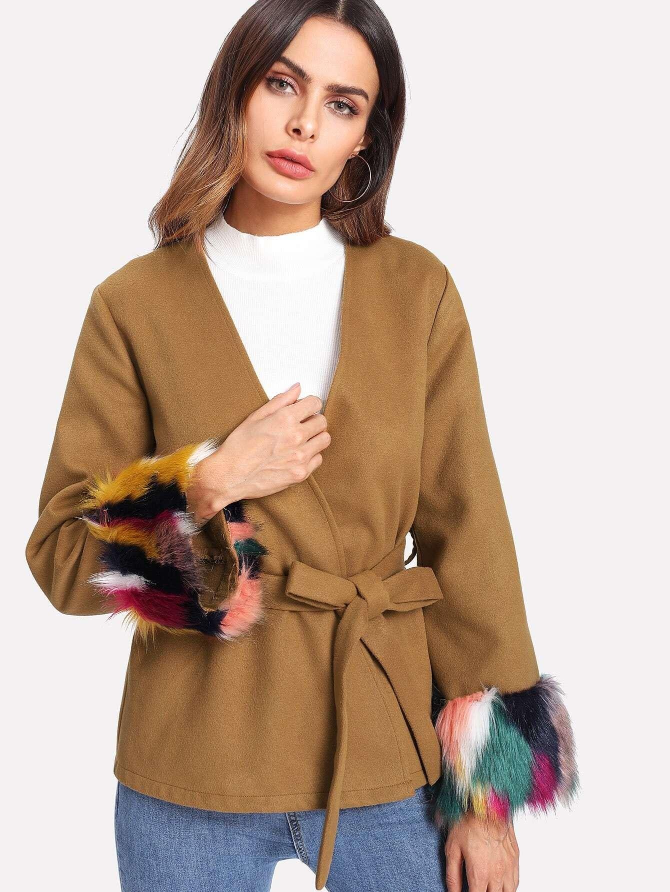 Contrast Faux Fur Cuff Self Belted Blazer contrast faux fur cuff pullover