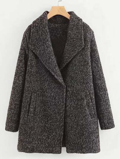 Oversized Collar Wool Blend Coat