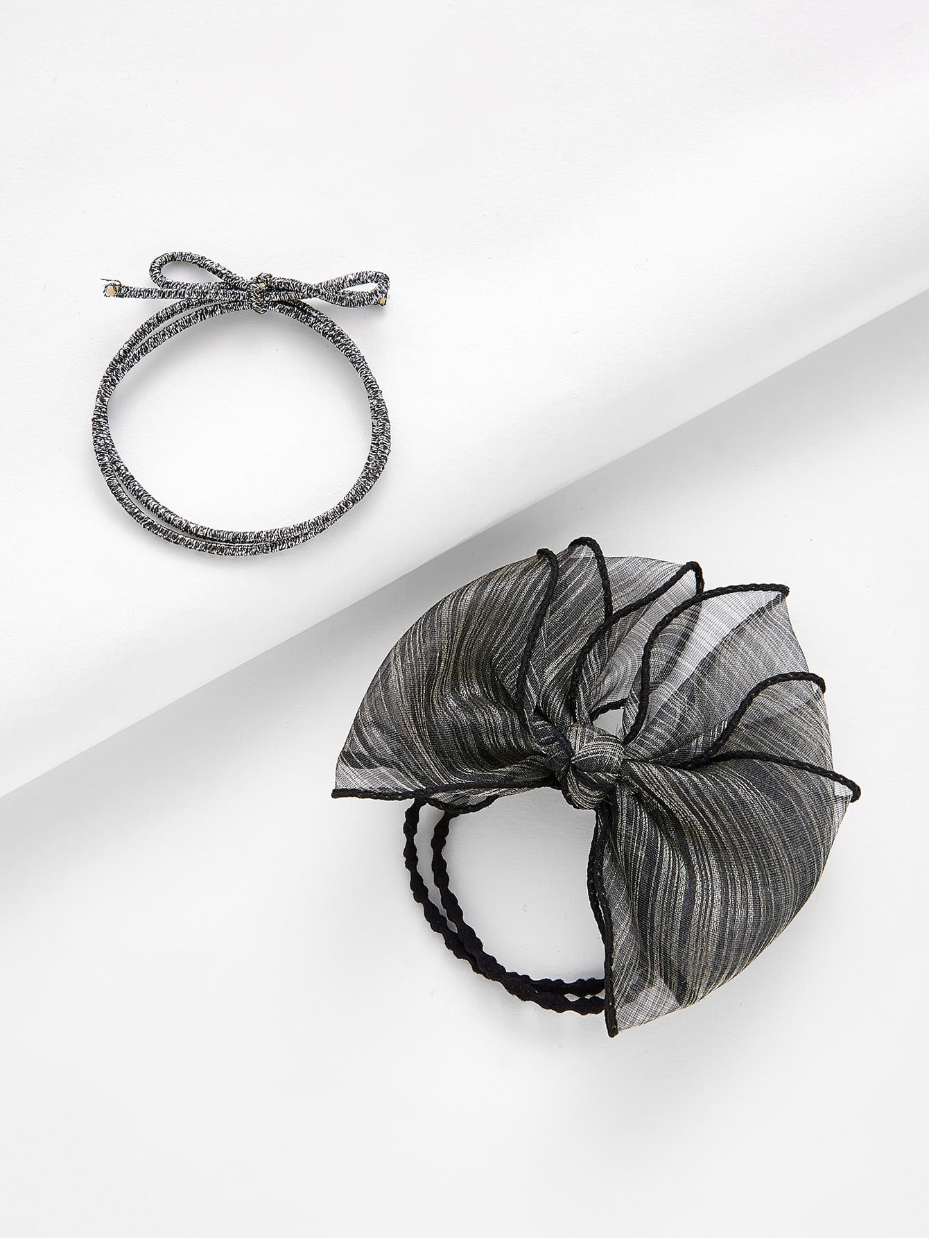 Mesh Bow Tie Hair Tie 2pcs stretchy ruffled garter 2pcs with bow tie