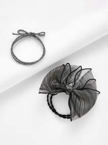 Mesh Bow Tie Hair Tie 2pcs
