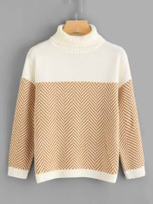 Chevron Pattern Drop Shoulder Jumper