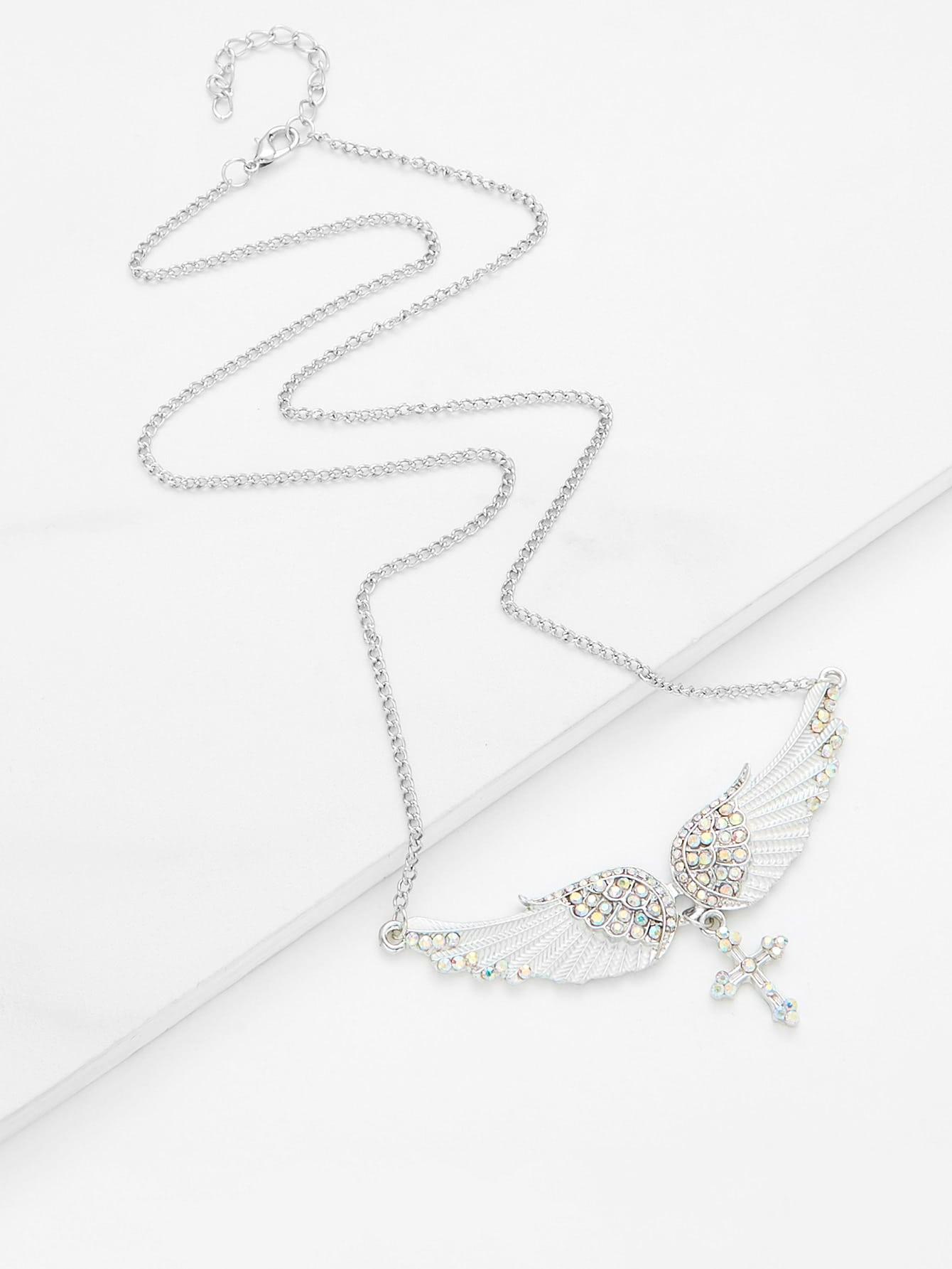 Rhinestone Cross & Wing Pendant Layered Necklace globo настольная лампа globo metalic 21690