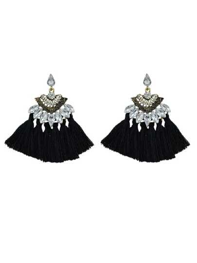 Black Luxury Rhinestone With Long Tassel Sector Shape Bohemian Earrings
