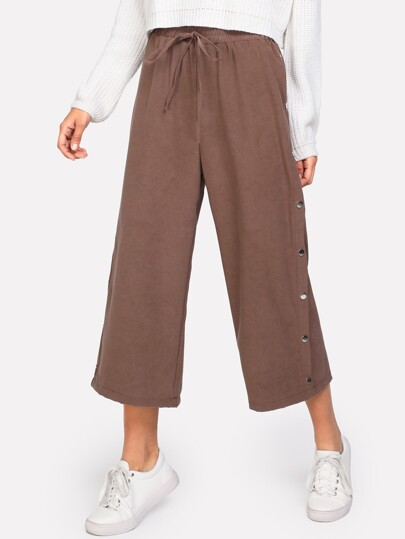 Button Side Drawstring Culotte Pants