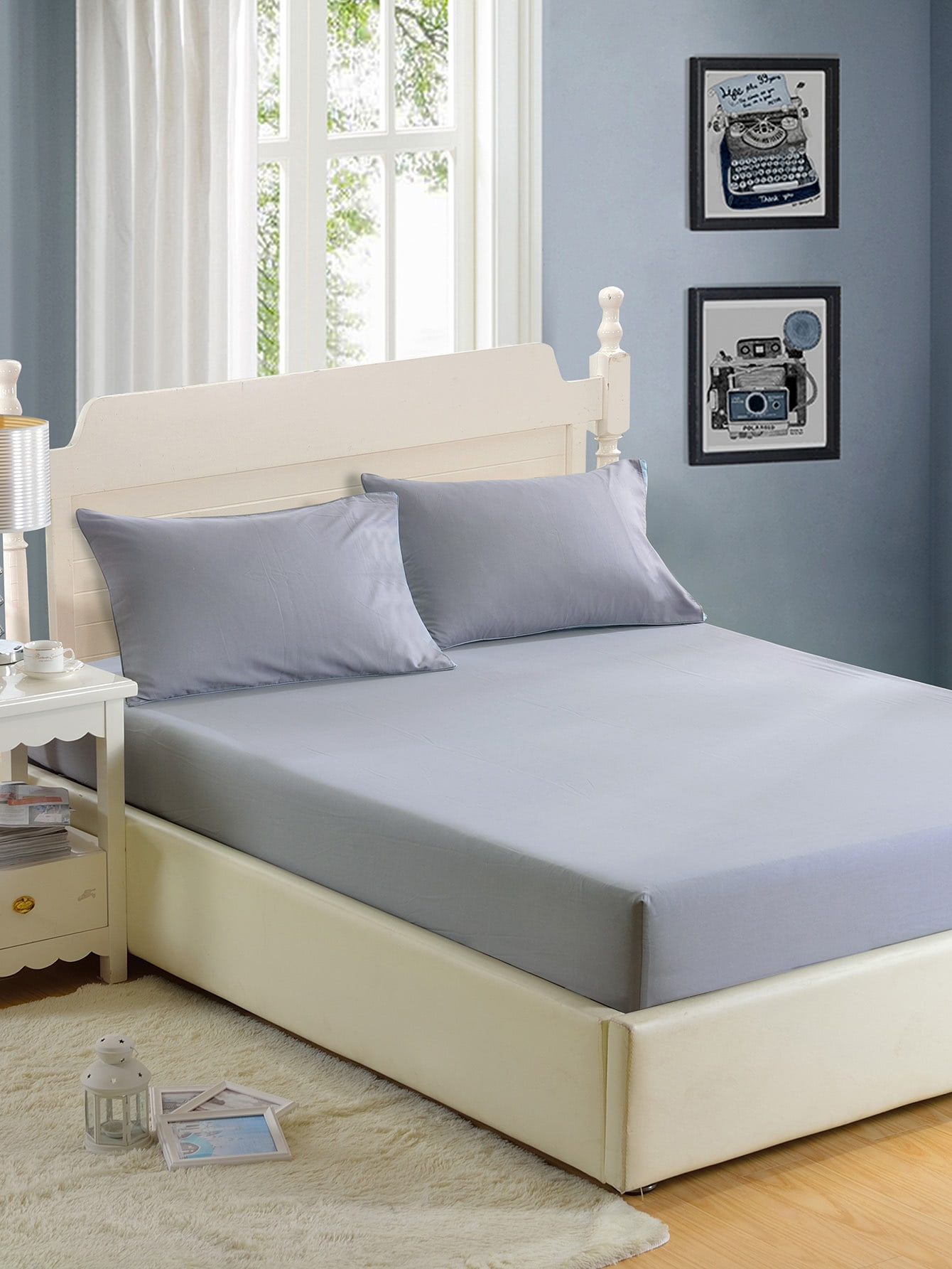 Simple Solid Full Covered Bed Cover Set бра leds c4 bed 05 2830 34 34
