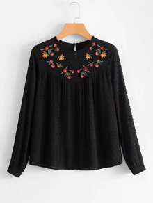 Textured Dot Embroidered Blouse