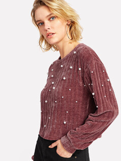 Pearl Embellishing Ribbed Knit Crop Pullover