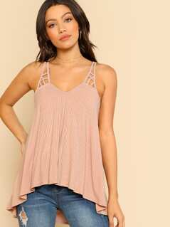 Halter Rib Tank Top BLUSH