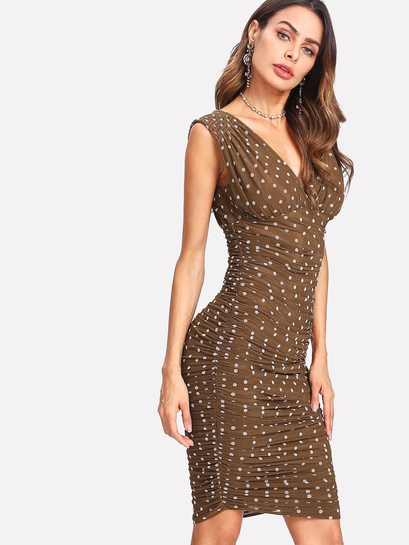 Polka Dot Deep V Neck Ruched Dress ruched polka dotted v neck jersey dress plum beige 8