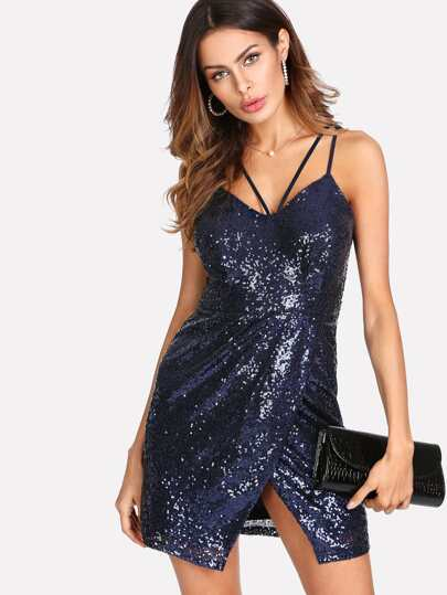 Strappy Neck Sequin Cami Dress