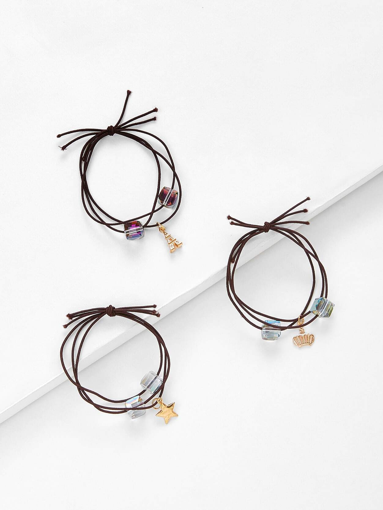 Metal Charm Hair Tie 3pcs цена и фото
