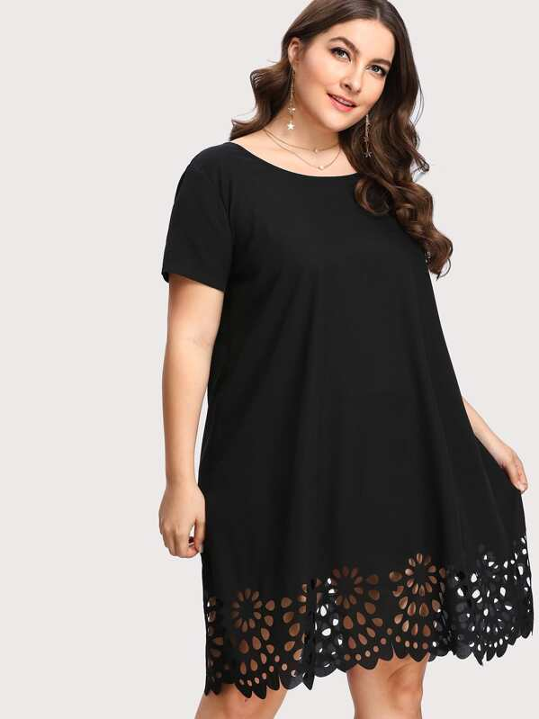 Plus Scallop Laser Cut Tunic Dress