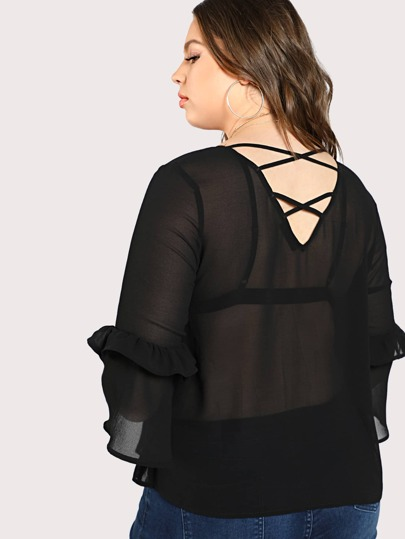 Frilled Sleeve Semi Sheer Top