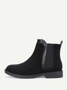 Contrast PU Flat Ankle Boots