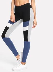 Cut And Sew Striped Leggings