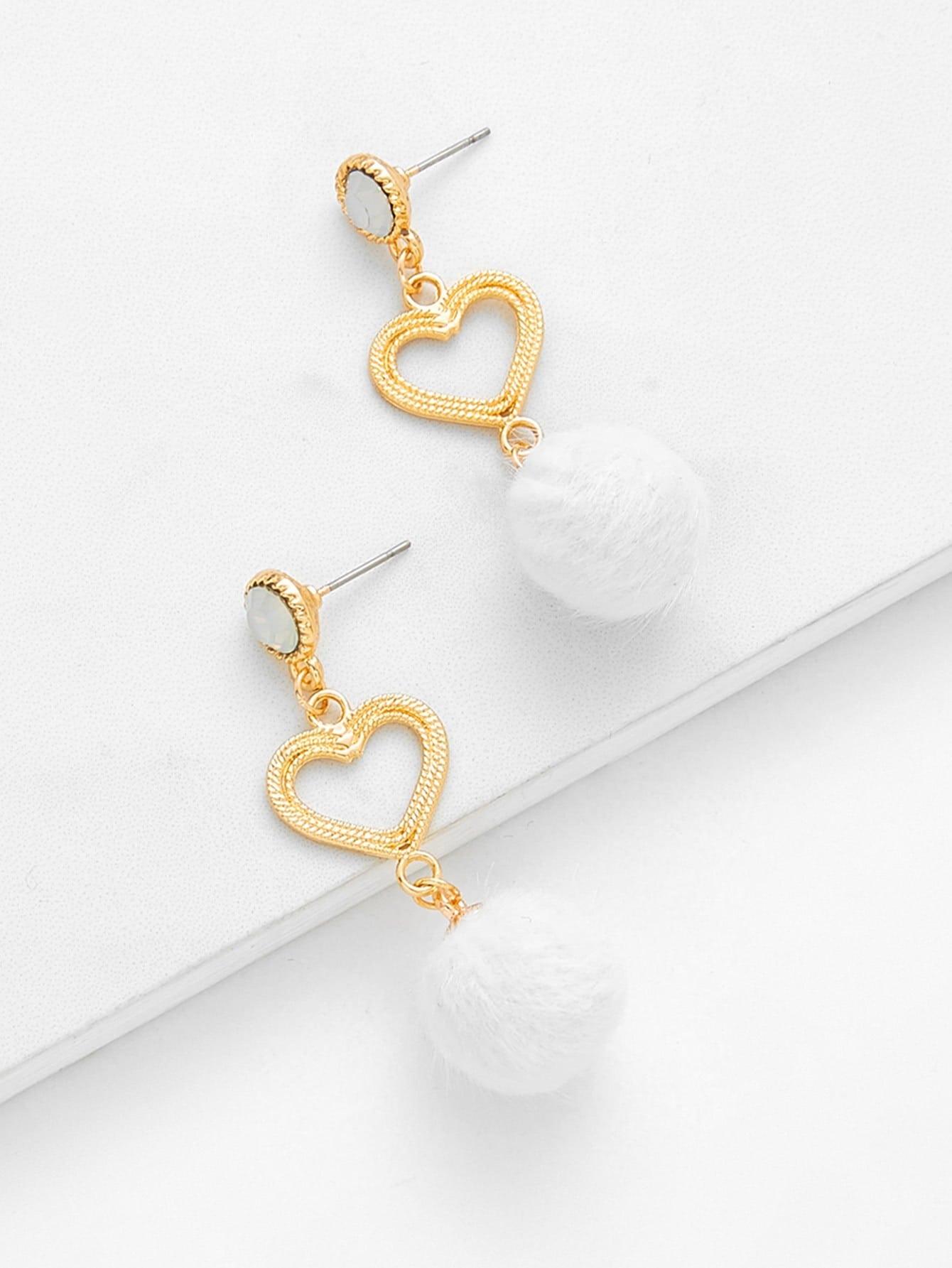 Hollow Heart & Pom Pom Design Drop Earrings pom pom drop earrings