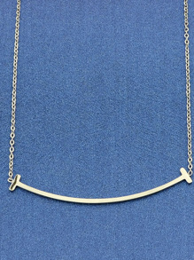 Silver Long Chain Geometric Pattern Necklace