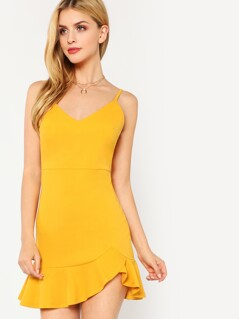 Ruffle Hem Fitted Cami Dress