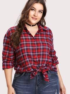Plus Button Up Checkered Shirt