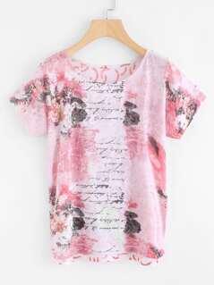 Mixed Print Curved Hem T-shirt