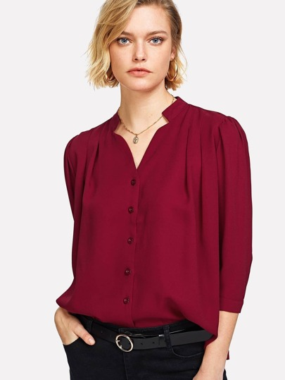 V Neck Button Front Blouse