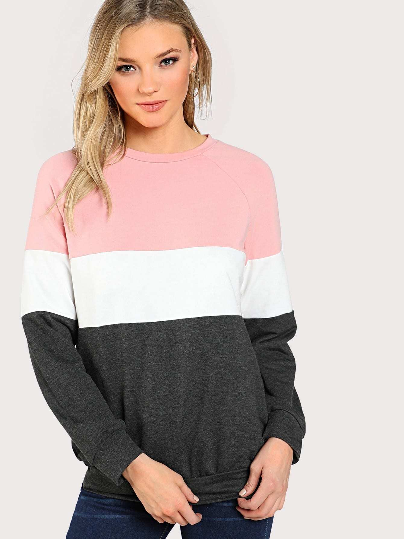 Cut And Sew Raglan Sleeve Sweatshirt cut and sew raglan sleeve heathered pullover