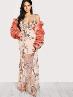 Sequin Mesh Overlay Plunging Cami Dress