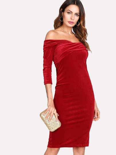 Cross Over Bardot Velvet Dress