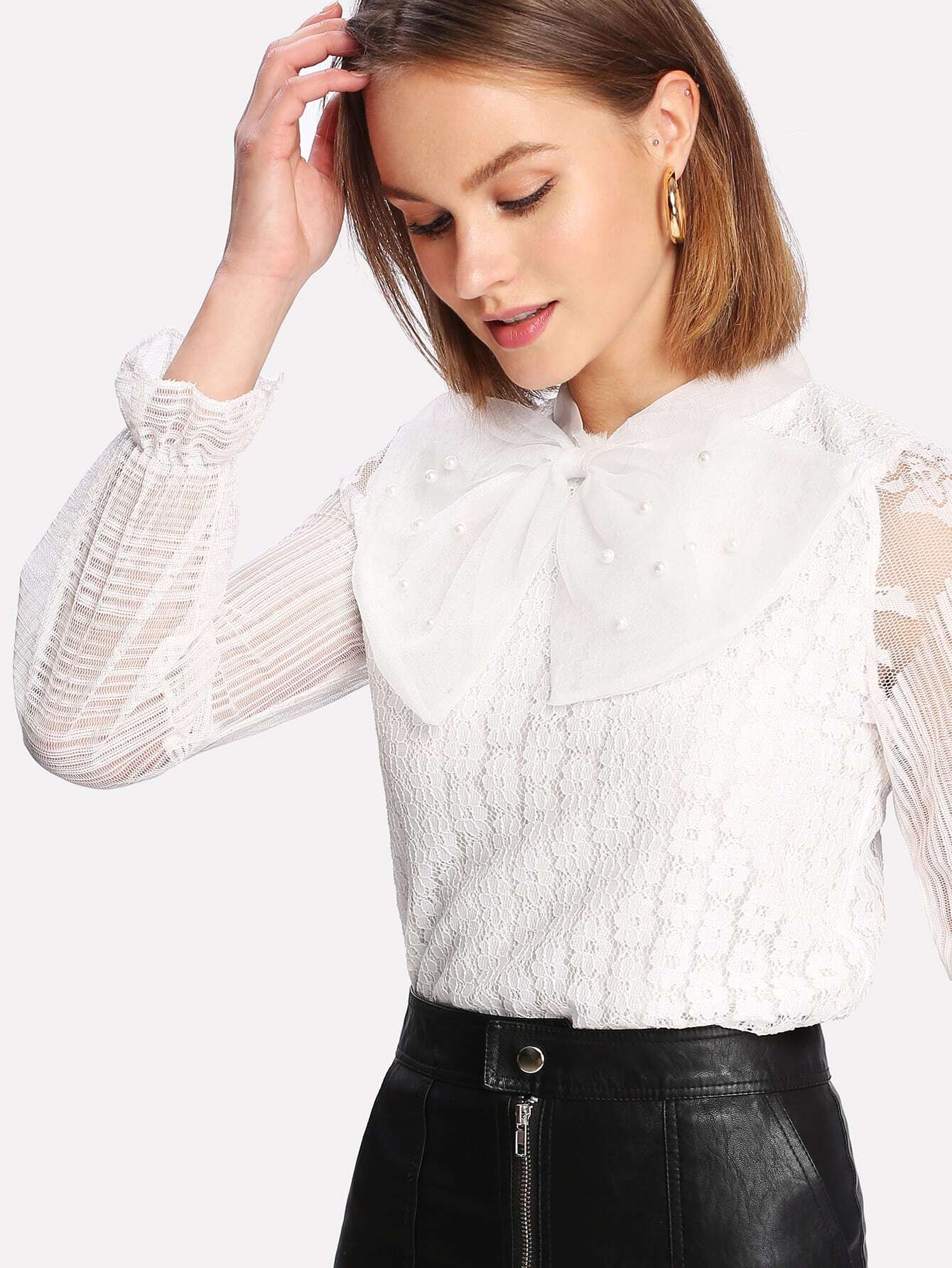 Pearl Beaded Detail Lace Overlay Blouse pearl and layered lace detail pullover