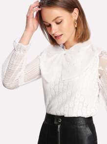Pearl Beaded Detail Lace Overlay Blouse