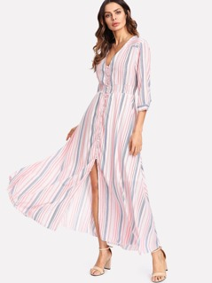 Button Up Front Striped Dress